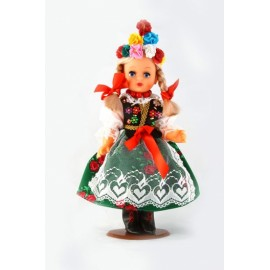 Doll in Krakow green folk dress 30 cm