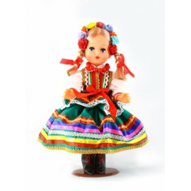 Doll in Lublinian green folk dress 30 cm.